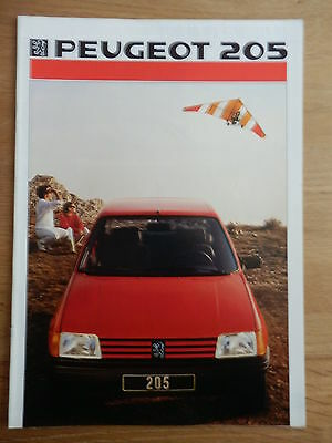 PEUGEOT 205 gamme brochure 16 pages 1986
