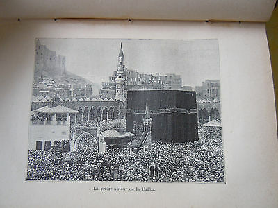 Rare French Book 1887 Engraving Holy Kaaba Mecca Map Makkah Hajj Saudi Arabia
