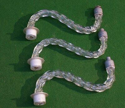Three Old Twisted Glass Hollow Chandelier Arms