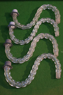 Four Old Twisted Glass Hollow Chandelier Arms