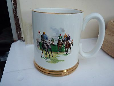 Lord Nelson pottery mug with horse racing scenes