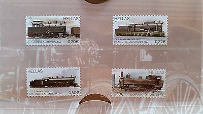 LOCOMOTIVES of GREECE (2015). 4 MNH stamps in Pres. Pack. TRAINS / RAIL / LOCOS