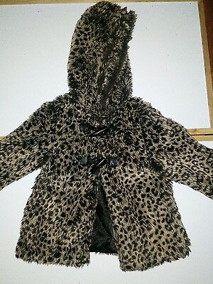 girls age 3 leopard print fluffy coat with hood