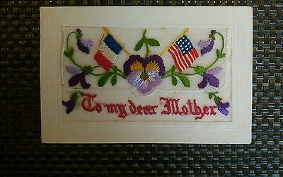 Ww1 Era Embroidered Silkpostcard Really Vivid Colors Dated 27/7/17