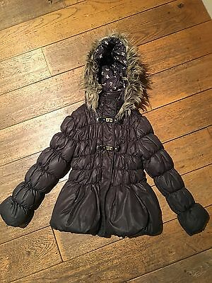 Next Girls Padded Winter Coat Brown/olive/grey Aged 9-10