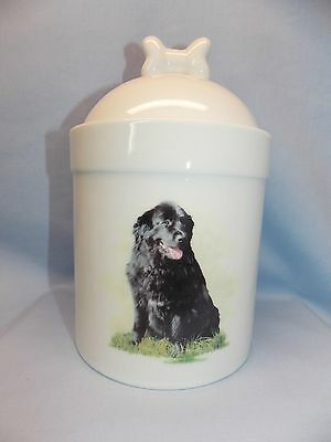 Newfoundland Dog Porcelain Treat Jar Fired Body Decal on Front 8 In Tall