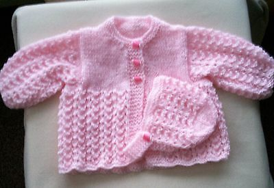 Baby Hand Knitted Cardigan - Matinee Coat and Bonnet