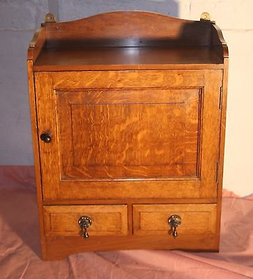 Vintage oak 1920s wall hanging medicine chest bathroom cabinet spice cupboard
