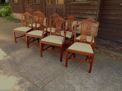 EIGHT  VINTAGE HEPPLEWHITE  MAHOGANY DINING CHAIRS  1930;s DELIVERY AVAILABLE
