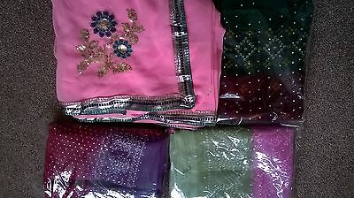 Children's Bollywood designer sarees with matching blouse for 6-13 year old girl