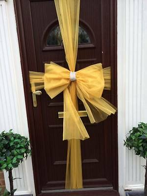 deluxe Christmas door bows red gold silver organza with diamond trim kit