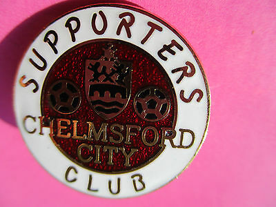 Vintage..chelmsford City Supporters Club..red & White Enamel..football Pin Badge