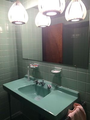 Vintage 1950's American Standard Ming Green Wall Hung Sink and Toilet