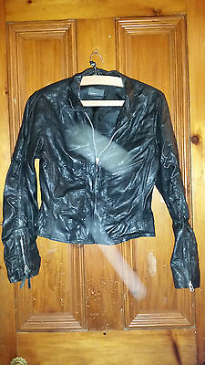 True Vintage Rock N Blue Soft  Black Leather ? Jacket 36 Chest