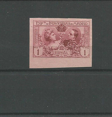 Spain EDIFIL SR5  1 PESATA IMPERFORATED,  1907   LIGHTLY MOUNTED MINT