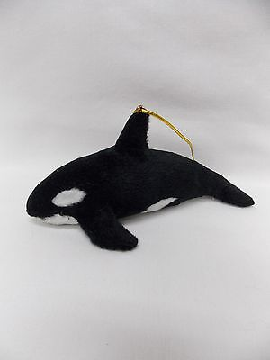 Whale/Orca Soft Furry Body Christmas Tree Ornament 5 1/2 Inch String New