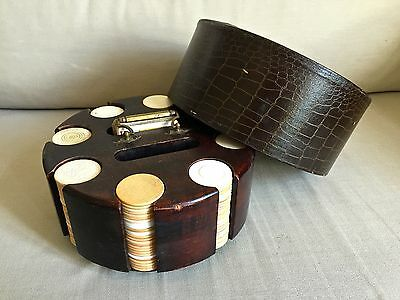 Large Antique Revolving Poker Chip Carousel + Vintage Chips and Cards