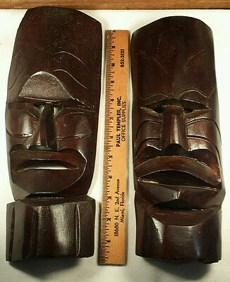 Tribal Mask - Pair of hand carved vintage wood mask