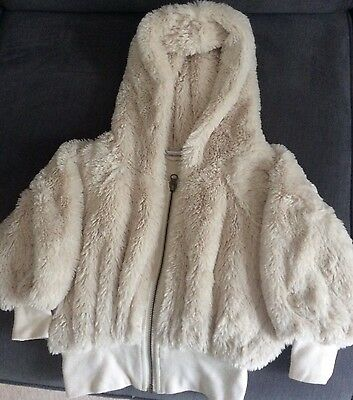 Next Girls Zip Front Fluffy Hooded Jacket Age 5-6