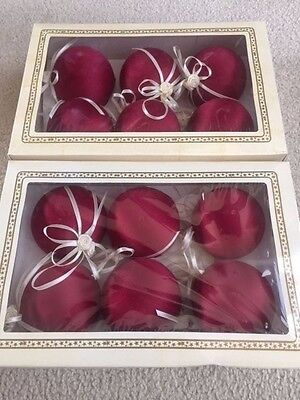 Set of 2 Boxes (12 Total) Burgundy Satin Ball Ornaments