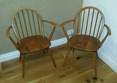 2 Vintage Retro Blonde Ercol Windsor Elm Carver Chair Hoop back