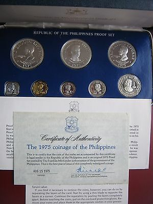 Philippines 1975 Proof Set w/ 2 Silver coins Original Box With COA Franklin Mint