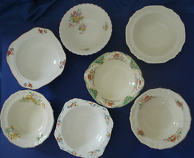 VINTAGE MEAKIN - ART DECO - 1930s - 7 LARGE BOWLS - MAINLY ALFRED MEAKIN