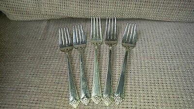 5 Rogers IS Silverplate Dinner & Salad Forks 1950 Starlight  Mixed Lot