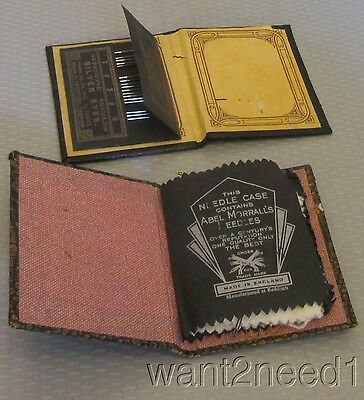 2 antique LEATHERETTE NEEDLE BOOKS CASES Redditch England Superfine Silver Eyes