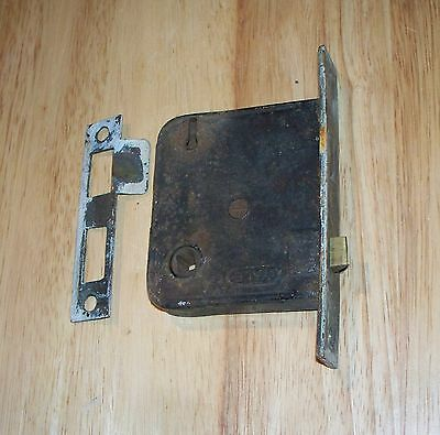 Vintage Door Dead Bolt & Lock Plate - Rusty Brass Plate for steampunk or crafts.