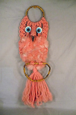 Vintage pink macrame owl handmade 1970s wall hanging kitsch crafts girl's room