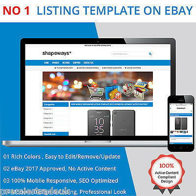 Mobile Responsive eBay Listing Template Auction HTML Professional  Design 2017