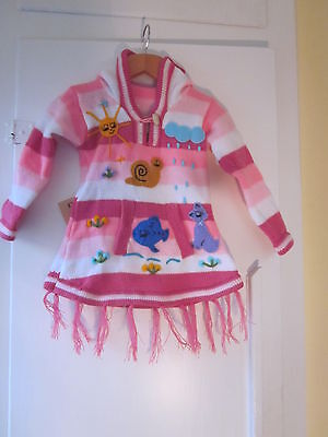 HANDMADE EMBROIDERED CHILDREN  PIXIE HOODED JUMPERS  FROM  1 to 6 YEARS