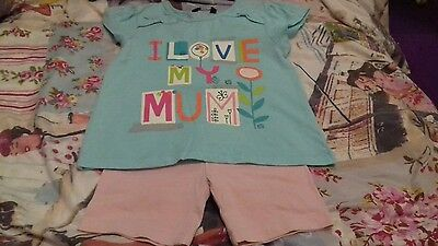 Girls outfit 2-3 years pink shorts  + ' i love mum ' top