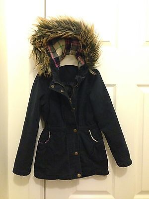Girls Navy Parka Coat Age 8-9 Due Hood From GEORGE 7 8
