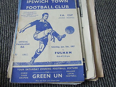 Ipswich Town V Fulham 1956-7 Fa Cup 3Rd Round