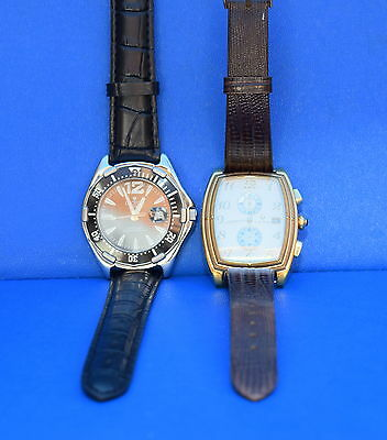 2 CROTON MENS WRISTWATCHES BLACK w/ NEW BAND RECTANGLE GOLD STAINLESS STEEL