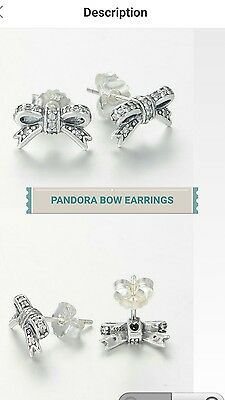 PANDORA DELICATE BOW STUD EARRINGS  S925 ALE Item No. 290555CZ
