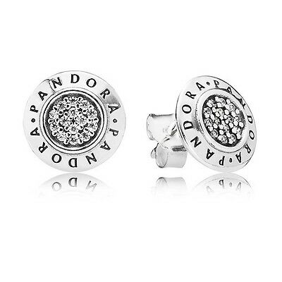 Pandora Silver Round Cubic Zirconia Signature Stud Earrings 290559Cz S925 Ale