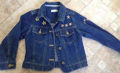 Adams Girls Blue Denim Jacket 6 Years Gold Pink Purple Stars Embroidered Beaded