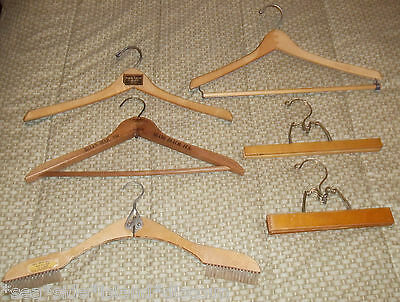 Vintage Lot of 6 Wooden Clothes Suits Pants Hangers Wishbone Bates Sears
