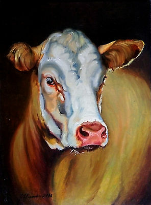 cow portrait original oil painting on canvas on the panel