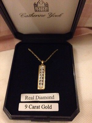 Catherine York Diamond And Gold Necklace In Box