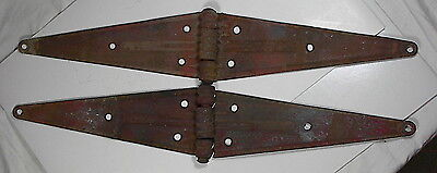 "2 Antique Vintage Barn Door Gate 20"" STRAP HINGES Rustic Garden Art Decor"
