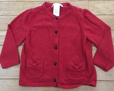 Girls Janie And Jack Cardigan Sweater Size 6-12 Months Red Holiday Christmas EUC