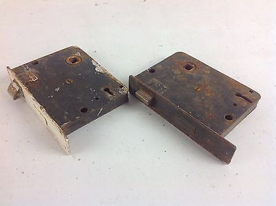 Pair Of Reclaimed Door Mortise Locks No Keys Old
