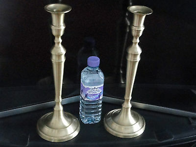 """A pair of Large  brass candlesticks Art Deco style Height 14 """"  Stunning ."""