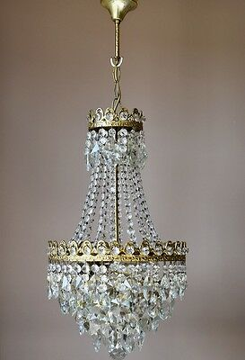 CHRISTMAS SALE VINTAGE LAMP 1940's ANTIQUE FRENCH CRYSTAL CHANDELIER LIGHTING