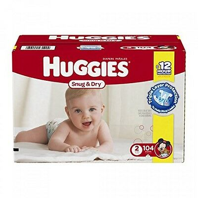 Huggies Snug and Dry Diapers, Size 2, 104 Count, New, Free Shipping