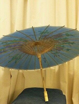 Chinese Antique Look Paper Parasol Handpainted & signed with Chinese Characters